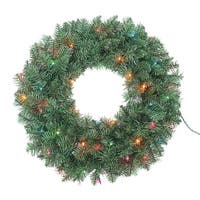 "30"" Pre-Lit Green Point Artificial Pine Christmas Wreath - Multi Lights"