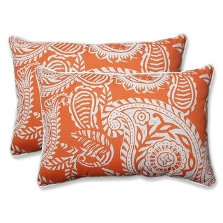 Set of 2 White Paisley Swirl and Coral Oversized Rectangular Throw Pillows 24.5""