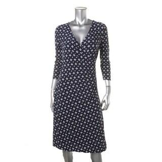 Lauren Ralph Lauren Womens Petites Printed 3/4 Sleeves Wear to Work Dress - pm
