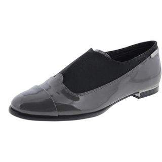 Calvin Klein Womens Cadence Patent Leather Cap Toe Oxfords