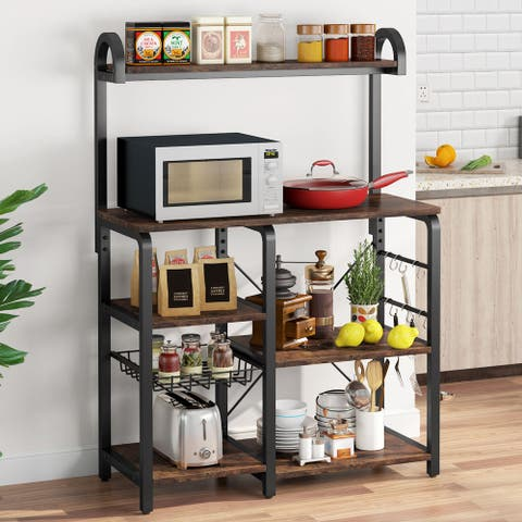 Wooden Kitchen Baker's Rack, Microwave Stand Shelf