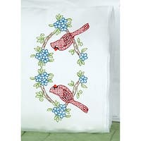 Stamped Pillowcases W/White Lace Edge 2/Pkg-Cardinal