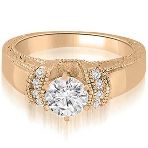 1.10 cttw. 14K Rose Gold Antique Style Cathedral Round Diamond Engagement Ring