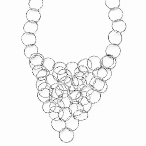 Italian Sterling Silver Polished and Textured Fancy Link Necklace - 20 inches