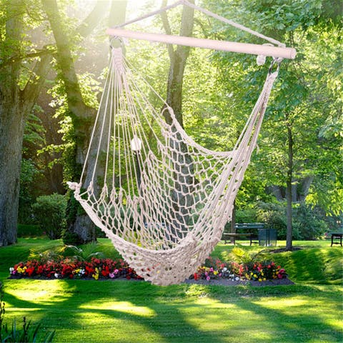 Hanging Hammock Chair Swing Seat with Soft Cotton Rope, Sturdy Wood Bar, for Indoor/Outdoor - Beige