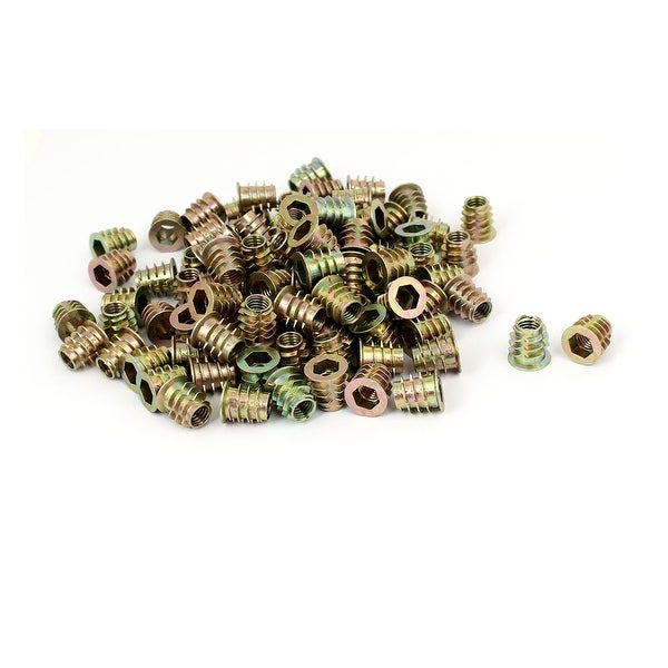 8mm x 15mm Zinc Alloy E-Nut Insert Interface Screw Hex Socket Nut Fitting 100PCS