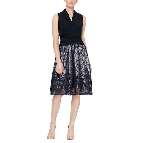 S.L Fashions Fashions Women's Lace Fit & Flare Dress Blue Size 14