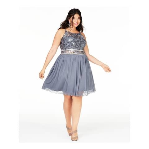 BCX Gray Spaghetti Strap Knee Length Fit + Flare Dress Size 16W