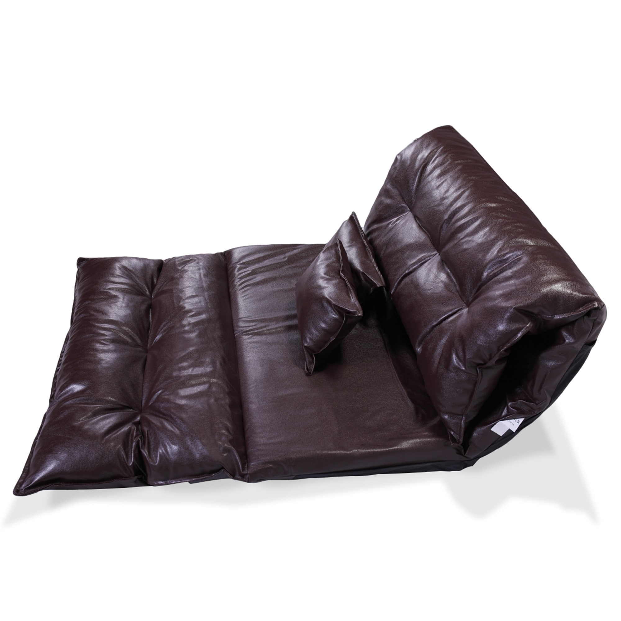 Shop Leather Foldable Floor Chair Sofa Bed Video Gaming Lounge W 2 Pillows Overstock 31733744