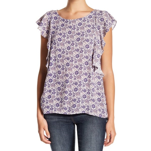 2939fa7e98954f Shop 14th & Union Purple Womens Size Large L Floral Flutter Sleeve Blouse -  On Sale - Free Shipping On Orders Over $45 - Overstock - 27590379