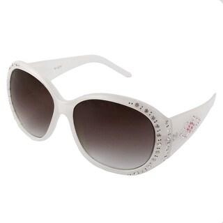 Women Outdoor Plastic Full Rim White Frame Rhinestone Decor Sunglasses