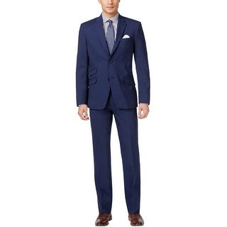Tommy Hilfiger Sawyer Trim Fit Blue Suit 42 Long 42L Flat Front Pants 36W