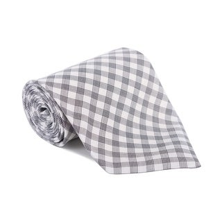 Tom Ford Mens Plaid Check Ivory Black Cotton Classic Tie - One size