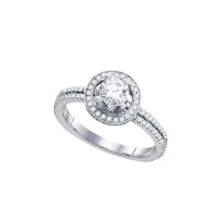 14k White Gold Womens Natural Round Diamond Solitaire Bridal Wedding Engagement Ring 7/8 Cttw