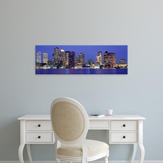 Easy Art Prints Panoramic Images's 'Skyscrapers lit up at night, Boston, Massachusetts, New England, USA' Canvas Art