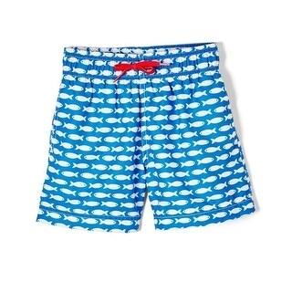 Azul Boys Light Blue Polka Dot Drawstring Focal Point Swim Shorts