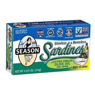 Season Brand Sardines, Gluten Free, Bnles Sknlss - (Case of 12 - 4.375 oz)