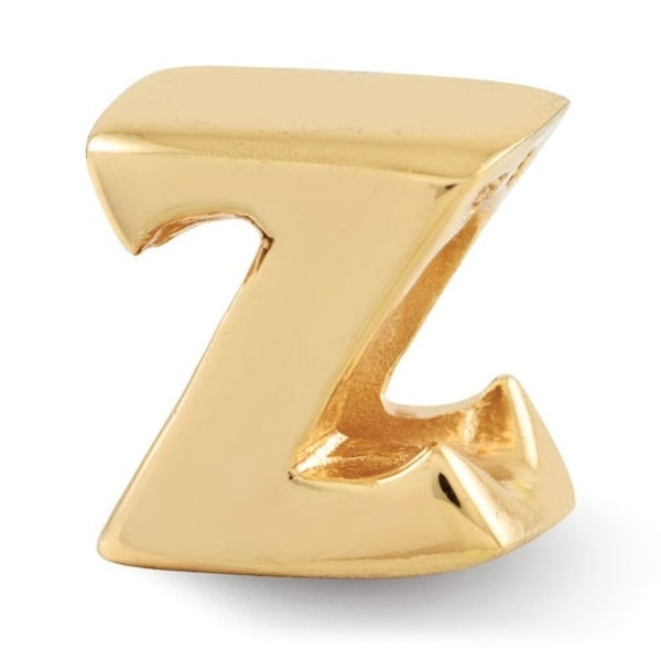 Sterling Silver Reflections Gold-plated Letter Z Bead (4mm Diameter Hole)