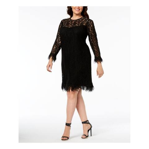 CALVIN KLEIN Womens Black Lace Long Sleeve Crew Neck Above The Knee Sheath Cocktail Dress Plus Size: 22W