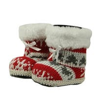 "2.75"" Alpine Chic Red, White and Gray Nordic Style Boots Christmas Ornament"
