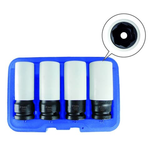 Astro 7404 astro 7404 flank bite damaged lug nut socket set with spinning protective sleeves