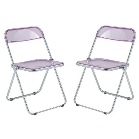 LeisureMod Lawrence Acrylic Folding Chair With Metal Frame, Set of 2 - 30""