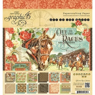 "Graphic 45 Double-Sided Paper Pad 8""X8"" 24/Pkg-Off To The Races, 12 Designs/2 Each"