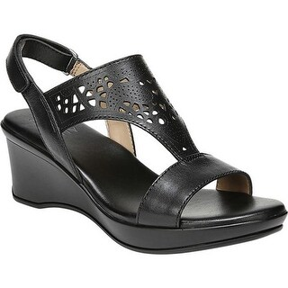 Naturalizer Women's Veda Wedge Sandal Black Leather