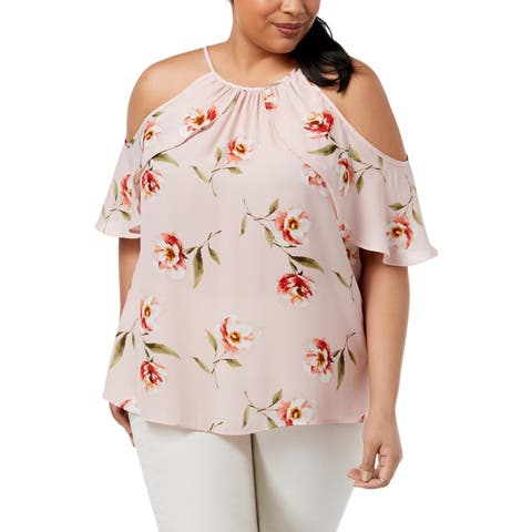 Soprano Womens Plus Blouse Cold Shoulder Sheer