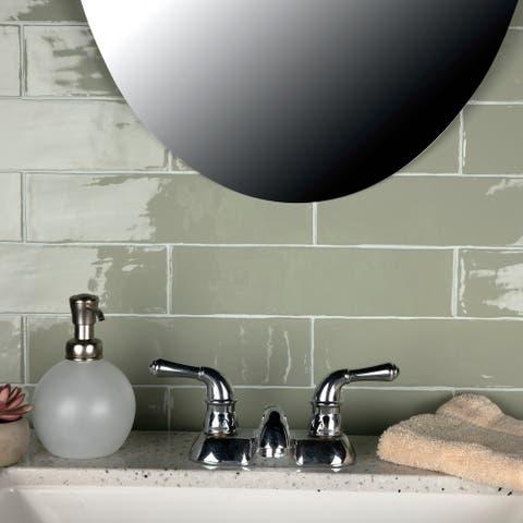 "SomerTile Chester Sage 3"" x 12"" Ceramic Wall Subway Tile"