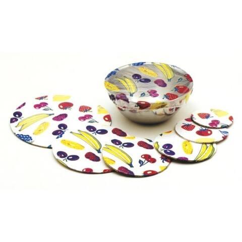 Norpro 6pc Set Fruit Pattern Reusable Elastic Decorative See Through Bowl Covers