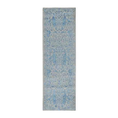 "Shahbanu Rugs Blue Fine Broken Cypress Tree Design Wool And Art Silk Runner Thick Hand Loomed Oriental Rug (2'5"" x 8'0"")"