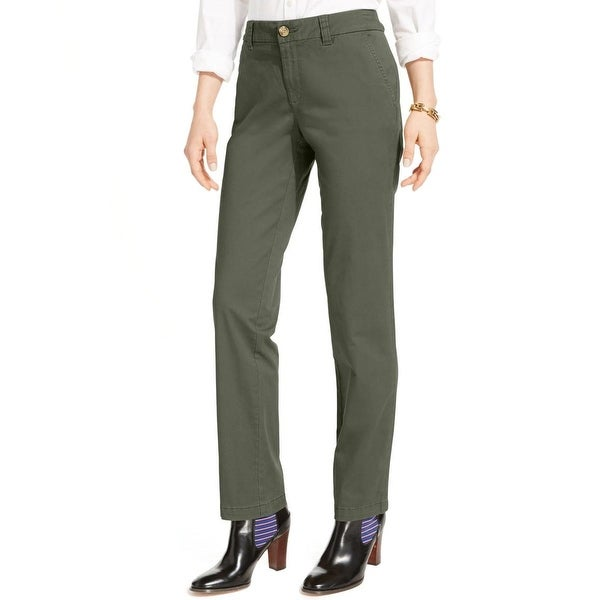 Tommy Hilfiger Womens Montauk Chino Pants Straight Stretch