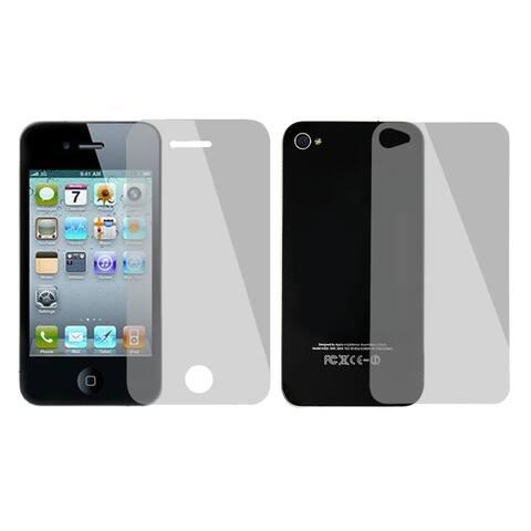 Unique Bargains Unique Bargains 2 in 1 Set Back Front Anti-glare Transparent Screen Protector for iPhone 4 4S