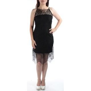 Womens Black Floral Sleeveless Sheath Cocktail Dress Size: 7