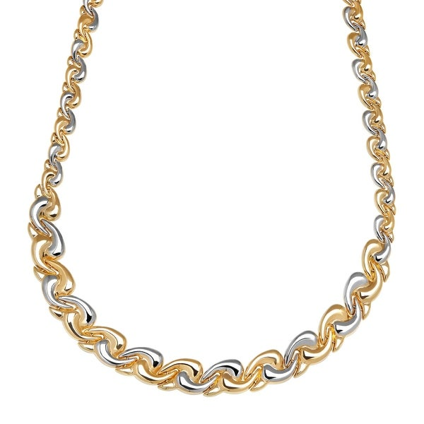 Eternity Gold Wave Swirl Link Necklace in 14K Gold with Rhodium Plating