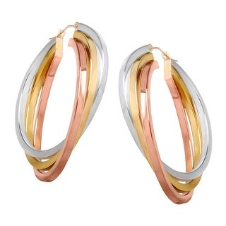 Triple Hoop Earrings in 14K Two-Tone Gold-Plated Sterling Silver - three-tone