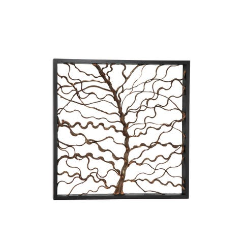 "Large Square Rustic Bauhinia Branches and Teak Wood Wall Decor 47.5"" x 47.5"""