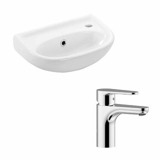 "WS Bath Collections Basic 4000.01L+GR 071 Basic 15-1/2"" Wall Mounted Bathroom Sink and Single Hole Faucet Included"