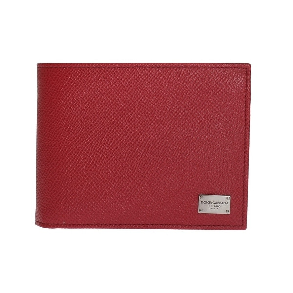 Dolce & Gabbana Red Dauphine Leather Bifold Wallet - One size