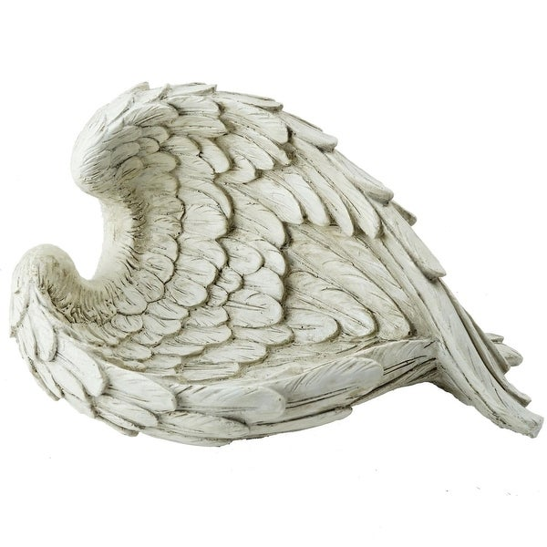 """10.75"""" Ivory Decorative Angel Wings Religious Outdoor Garden Statue"""