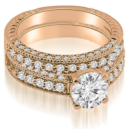 1.63 cttw. 14K Rose Gold Antique Milgrain Round Cut Diamond Bridal Set