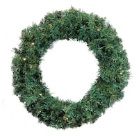 "36"" Pre-Lit Green Cedar Pine Artificial Christmas Wreath - Warm White LED Lights"