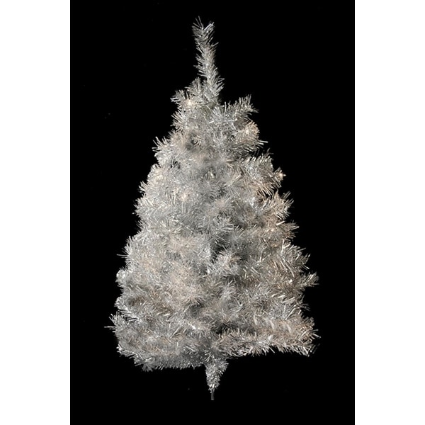 3' Silver Tinsel Artificial Christmas Wall Tree - Unlit