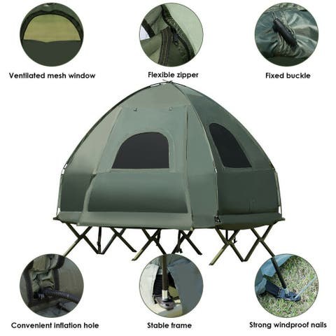 Gymax 2-Person Compact Portable Pop-Up Tent/Camping Cot W/ Air Mattress & Sleeping Bag