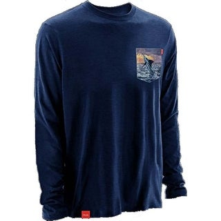 Huk Men's KC Scott Performance Heather Navy Medium Pocket L/S Tee Shirt