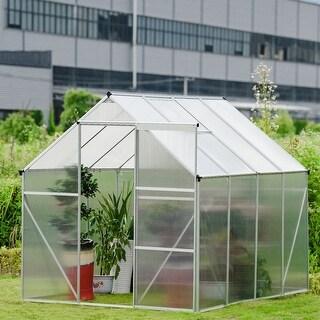 Costway 6.2'L x 8.2'D Walk-in Garden Greenhouse Heavy Duty Roof Aluminum Frame