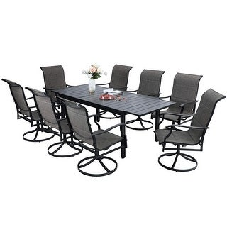Link to Sophia & William Patio Dining Set 9/7 Pieces Outdoor Metal Set, 8/6 Textilene Dining Swivel Chairs and 1 Expandable Table Similar Items in Patio Furniture