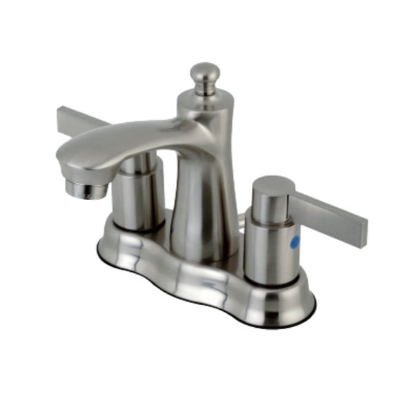 Kingston Brass FB761.NDL NuvoFusion 1.2 GPM Centerset Bathroom Faucet with Pop-Up Drain Assembly and Metal Handles
