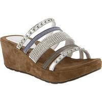 Azura Women's Oletha Ornamented Slide Sandal Silver Multi Leather